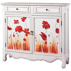 Penelope Poppies on White Console