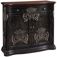 Hand-Painted Distressed Black Cabinet
