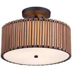 "Grayson Wood Panel 15"" Wide Bronze Ceiling Light"