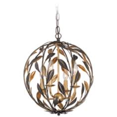 "Broche 16"" Wide English Bronze Chandelier"