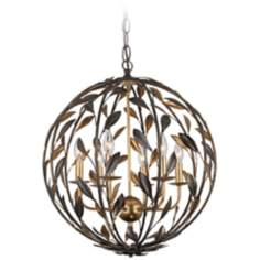 "Broche 21"" Wide English Bronze Chandelier"