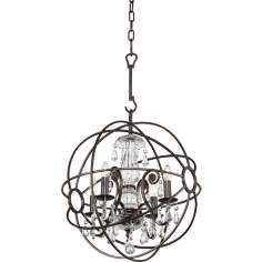 "Solaris 17"" Wide English Bronze Chandelier"