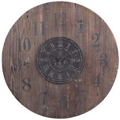 "Wood 30"" Wide Washed Brown and Black Wall Clock"