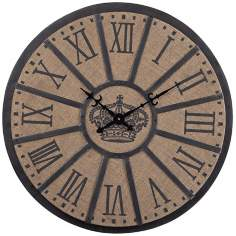 "Crown Face 26"" Wide Linen and Black Wall Clock"