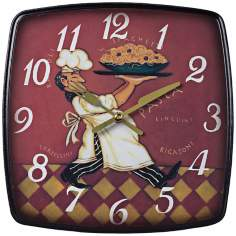 "Busy Chef 9"" High Burgundy Kitchen Wall Clock"