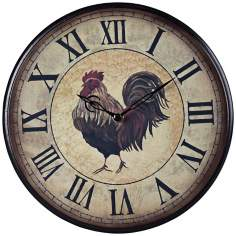 "Rooster 9"" Wide Brown and Beige Wall Clock"