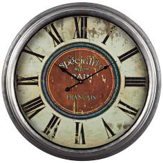 "French Country Specialite 24"" Wide Cream Wall Clock"