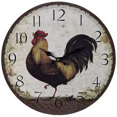 "Rooster 13"" Wide Cream Wall Clock"