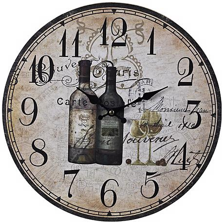 "Wine Bottles 13"" Wide Beige Wall Clock"