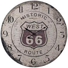 "Route 66 24"" Wide Gray Wall Clock"