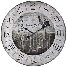 "New York 24"" Wide Distressed White Wall Clock"