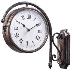 "Antique Double-Sided 14"" Wide Bronze Wall Clock"