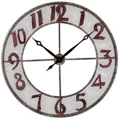 "Metal 31"" Wide Burgundy and Black Outdoor Wall Clock"