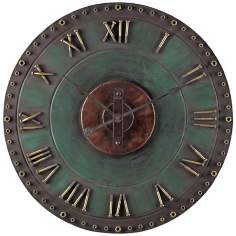 "Metal 32"" Wide Green and Gold Outdoor Wall Clock"