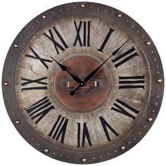 "Gray Metal 24"" Wide Outdoor Wall Clock"