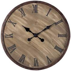 "Antique Washed Wood 24"" Wide Outdoor Wall Clock"