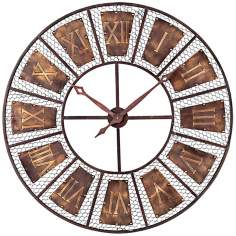 "Bronze and Black 35"" Wide Outdoor Wall Clock"