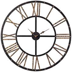 "Metal 28"" Wide Black and Gold Outdoor Wall Clock"