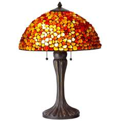 Natural Red Gemstone Antique Bronze Table Lamp