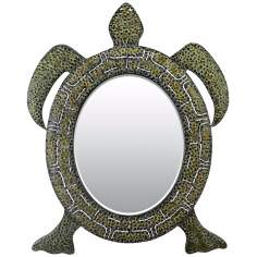 "Reflecting Tortoise 41"" High Green Wall Mirror"