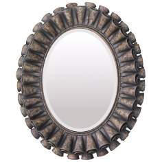 "Ruffled Oval 39"" High Bronze Wall Mirror"