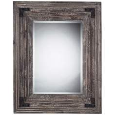 "Staffordshore 18"" High Reclaimed Wood Wall Mirror"