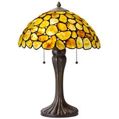 Natural Gemstone Yellow and Bronze Table Lamp