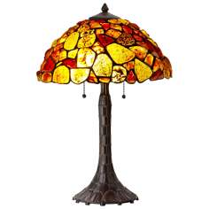 Red and Yellow Gemstone Antique Bronze Table Lamp
