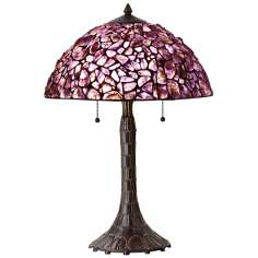 Natural Amethyst Antique Bronze Table Lamp