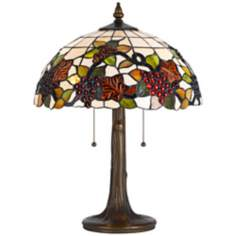 Tiffany-Style Fruit Antique Brass Table Lamp