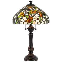Swirling Vine Tiffany-Style Antique Bronze Table Lamp
