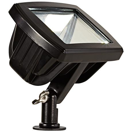 hooded low voltage black led landscape spotlight