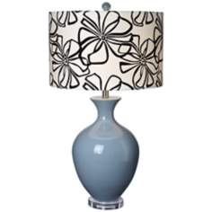 Hanford Ceramic Smoke Blue Table Lamp
