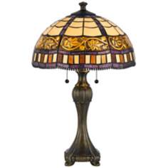 Floral Tiffany-Style Antique Brass Table Lamp