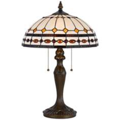 Tiffany-Style Ivory Antique Brass Table Lamp