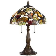 Tiffany-Style Bird and Leaf Antique Brass Table Lamp