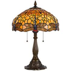 Tiffany-Style Amber Dragonfly Antique Brass Table Lamp