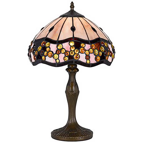 Ivory Tiffany-Style Antique Brass Table Lamp