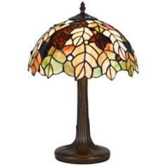Leaf Pattern Tiffany-Style Antique Brass Table Lamp