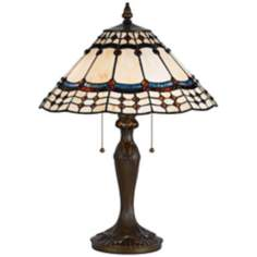 Tiffany-Style Antique Brass Table Lamp