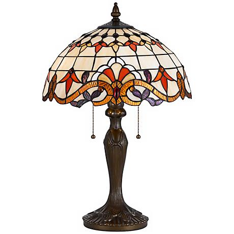 Tiffany-Style Scroll Pattern Antique Brass Table Lamp