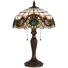 Scroll Pattern Tiffany-Style Antique Brass Table Lamp