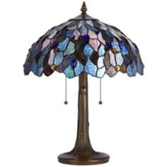 "Blue And Antique Brass 22 1/2"" High Tiffany Accent Lamp"