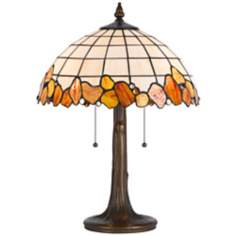 "Rust And Antique Brass 22"" High Tiffany Accent Lamp"