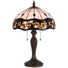 Scalloped Antique Brass Tiffany Style Accent Lamp