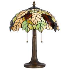 Fall Leaf Antique Brass Tiffany Style Accent Lamp