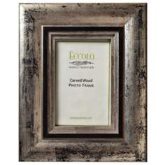 Elegance Carved Wood 4x6 Pewter Photo Frame