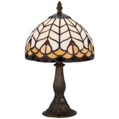 "Yellow And Antique Brass 13 1/2"" High Tiffany Accent Lamp"