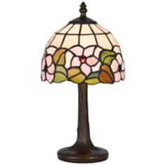 "Flowers And Leaves 13 1/2"" High Tiffany Accent Lamp"