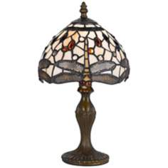 "Dragonfly 14"" High Tiffany Accent Lamp"